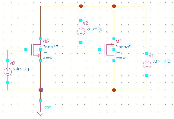 以前有提过在spice下面得到mosfet的gm/id曲线等的方法,这里谈一下在cadence环境下面获得gm/id曲线的方法 基本的方法,还是和之前文章说的一样,通过op分析得到gm等参数,并通过参数分析(parametric analysis)扫描Vg电压得到跨导效率gm/id随过驱动电压vov变化的曲线,具体的仿真电路如下:  这里主要的问题是在cadence环境下如何取得op分析中的mosfet的参数(如gm,vth等),一般来说我们可以通过两种方法来获取这些参数: 第一种方法是通过ADE里面的c