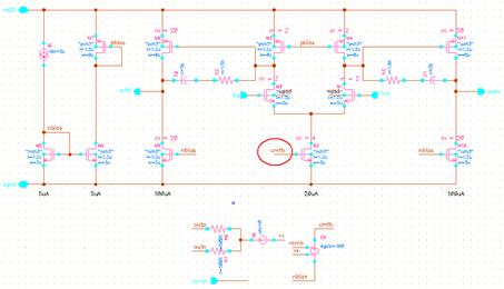 通过尾电流源调整的共模反馈方式的全差分放大器