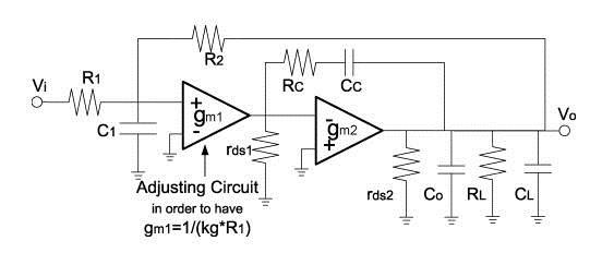 Miller 补偿的两级运放实现的 Active-gm-RC 的滤波器