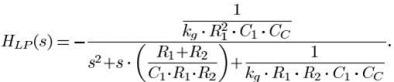 两级运放实现的 Active-gm-RC 的滤波器传递函数